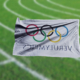 vwhite flag with word: 'verulympics' beneath olympic rings
