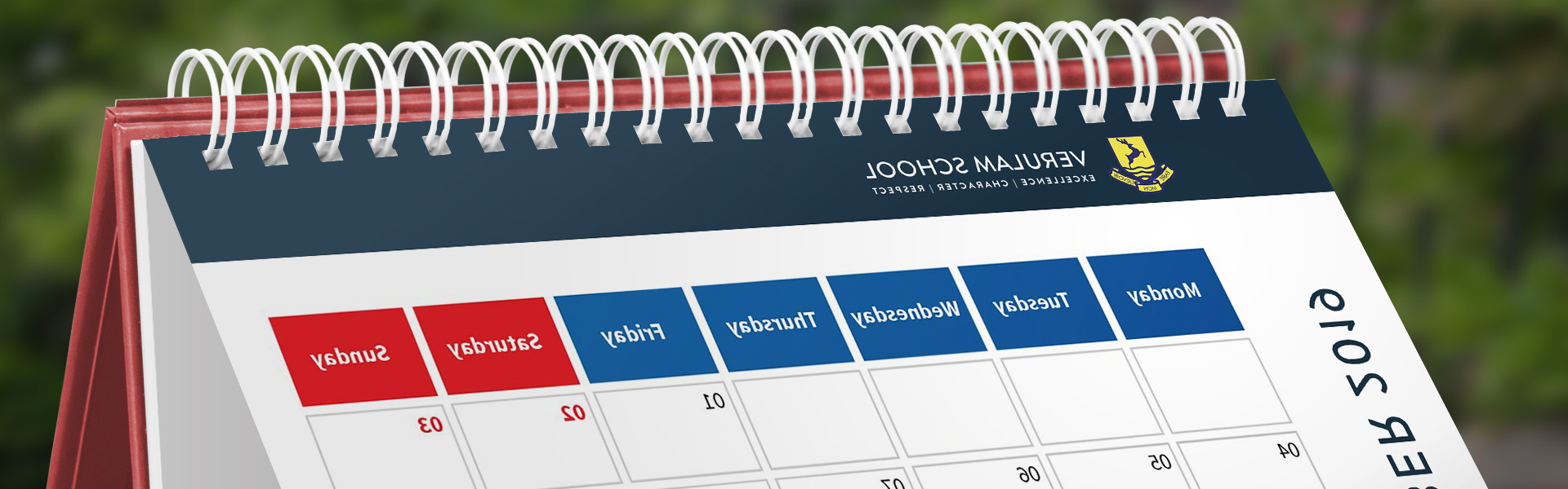 calendar with verulam school logo at top
