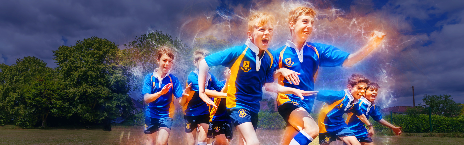 stylised photograph of sporting students running cheering towards camera
